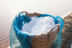 Natural sea salt in thai bamboo basket original harvest containe Royalty Free Stock Photo