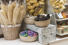 A natural sea sponges in the shop at Symi island, Greece Stock Photography