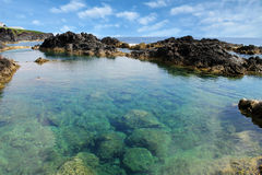 Natural sea water pool in Azores Stock Photo