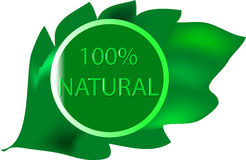 100% Natural. Seal with a leaf Royalty Free Stock Image
