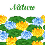 Natural seamless border with lotus flowers and leaves. Background made without clipping mask. Easy to use for backdrop Royalty Free Stock Image