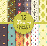 12 natural seamless pattern collection. natural concept pattern. Background repeatable. flat seamless pattern. vector stock Royalty Free Stock Photo