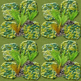Natural seamless pattern of green and gold stones and ferns. Pattern with wild plants and stones on waterlogged soil Stock Photos