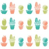 Natural seamless pattern with hand drawn cactus. Blooming Mexican desert plants. Botanical vector illustration for backdrop, wrapping paper, textile print stock illustration