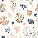 Natural seamless pattern with orange and blue corals, seaweed or algae. Backdrop with oceanic species, aquatic flora and. Fauna, biodiversity of tropical seabed stock illustration