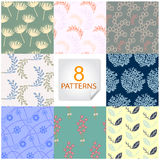 Natural seamless patterns 8 designs in one set Royalty Free Stock Photo