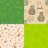 Natural seamless patterns set Stock Photos