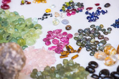 Natural semiprecious stones and other minerals stock photo