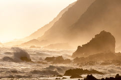 Natural sepia coastal sunset scene. A natural sepia sunset scene of the coast along the Garden Route in the Eastern Cape Province of South Africa Royalty Free Stock Photography