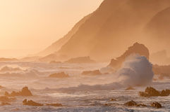 Natural sepia coastal sunset scene. A natural sepia sunset scene of the coast along the Garden Route in the Eastern Cape Province of South Africa Royalty Free Stock Photo