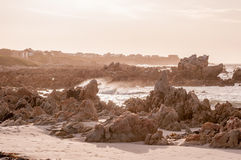 Natural sepia scene of the Indian Ocean at Pringle Bay Royalty Free Stock Image