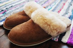 Free Natural Sheepskin Slippers For Women& X27;s Royalty Free Stock Image - 137518156