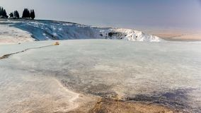 Natural sightseeing place of white terraces in Pamukkale, Turkey. 4k stock footage