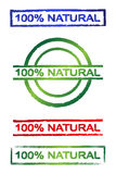 100% natural sign. 100% natural grunge stamp set in three colors Royalty Free Stock Images