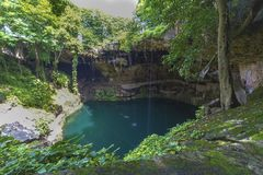 Natural sinkhole in Mexico stock photo