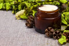 Natural skin care cream. In open jar of dark glass surrounded by green leaves on sackcloth surface. Side view. Shallow depth of field. Diagonal frame. Copy Royalty Free Stock Photos