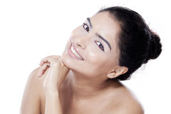 Natural skin face of beautiful model Stock Photo