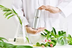 Free Natural Skincare Beauty Product Research, Green Organic Herbal Essence Discovery At Science Lab. Stock Images - 156364114