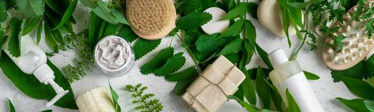 Natural skincare and leaves. Natural cosmetics and green leaves on white stone background, banner. Natural organic skincare, bio research and healthy lifestyle stock image