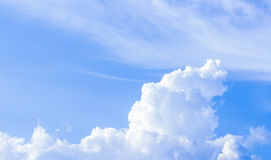 Natural sky background and radiating rays in a blue sky with clouds. That suitable for background, backdrop, wallpaper, display an Royalty Free Stock Images