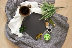 Natural slate slab surrounded by herbs, alchemy appliances, potions and ingredients lies on a table. fabric linen and knitted. Around. Halloween occultism stock images