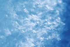 Natural snow background from many crystals of snowflakes of various shapes and texture shimmer in the sun on a clear winter day. Snow background from many royalty free stock image