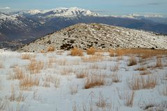 Natural snowy landscape in Abruzzo, Italy Stock Photos