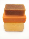 Natural Soap 4. 3 bars of natural soap - goat milk, hemp seed oil, and glycerine stock photo