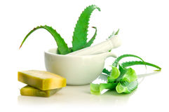 Natural soap and aloe vera Royalty Free Stock Image