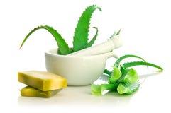 Natural Soap And Aloe Vera Royalty Free Stock Image