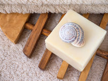 Natural soap bar, snail shell and terry towel Royalty Free Stock Photos