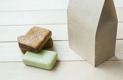 Natural soap bars in a paper bag Stock Photography