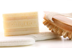 Natural soap with bath accessories on white Stock Photos