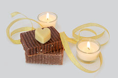 Natural soap and candles Stock Photo