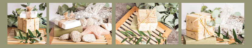 Olive soaps collage white and beige Stock Photo