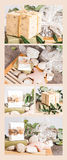 Natural soaps collage with stones on wood Royalty Free Stock Photo