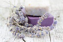 Natural soap with dried lavender Stock Photo