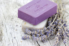 Natural soap with dried lavender Royalty Free Stock Photo