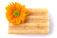 Natural soap and flower Royalty Free Stock Photos