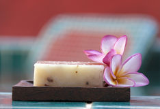 Natural soap with flower horizontal Royalty Free Stock Images