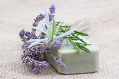 natural soap with herbs Stock Photos