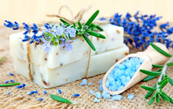 Natural soap, herbs and bath salt stock photo