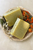 Natural soap with herbs Stock Image