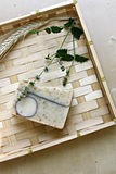 Natural soap with herbs Stock Photo