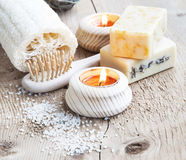 Natural Soap.Home Spa Setting with burning Candles Stock Photos