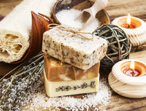 Natural Soap.Homemade Spa Setting with Bodycare Products Stock Image