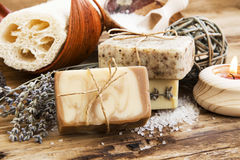 Free Natural Soap.Homemade Spa Setting With Bodycare Products Stock Images - 50944914