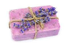 Natural soap and lavender flowers Stock Photo