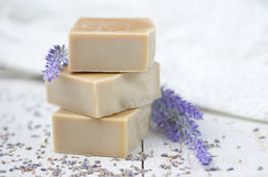 Natural soap with lavender Royalty Free Stock Image