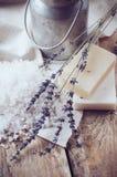 Natural soap, lavender, salt, cloth Royalty Free Stock Image